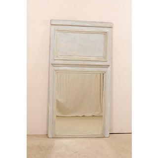 Tall French 19th Century Trumeau Mirror in Lovely Pale Blue and Grey Wash Preview