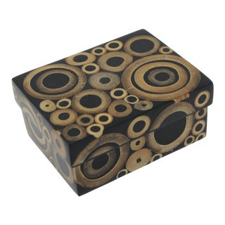 Tessellated Bamboo Circles Wood Box by R & Y Augousti Paris For Sale