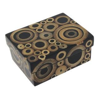 Vintage R&y Augousti Paris Tessellated Bamboo Circles Wood Box For Sale