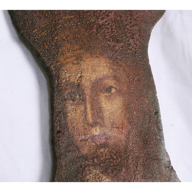 Mid 19th Century Mid 19th Century Painted Noble Saint on Board Painting For Sale - Image 5 of 5