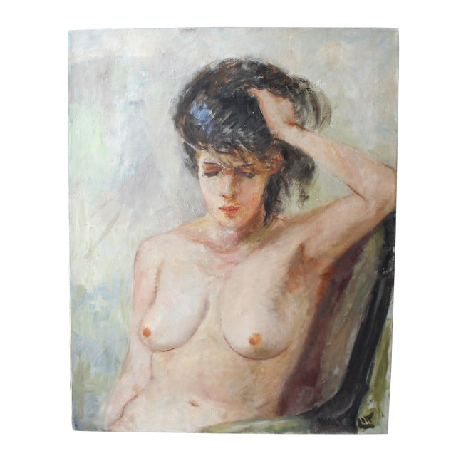 Vintage Walt Litt Oil Painting Nude Woman Portrait - Image 1 of 8