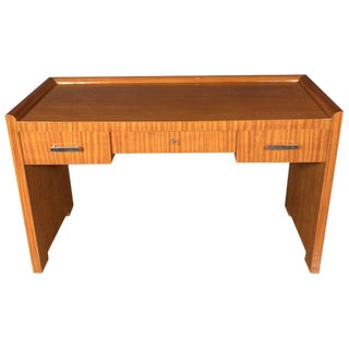 French Art Deco Bookmatched Satinwood Desk with Silvered Pulls For Sale