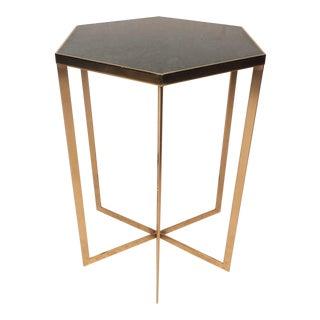 Mid-Century Modern Hexagonal Marble-Top Pedestal Table