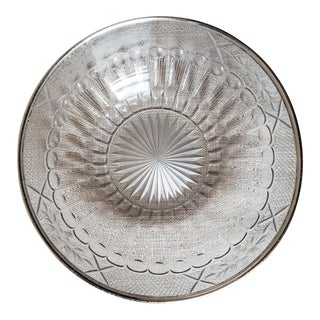Late 19th Century Crystal Cut Glass Bowl With Sterling Rim For Sale