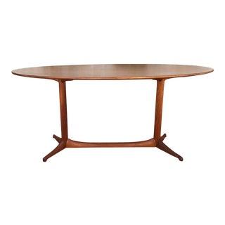Swedish Mid-Century Teak Oval Coffee Table For Sale