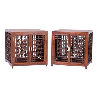 Midcentury Asian Inspired End Tables - A Pair For Sale
