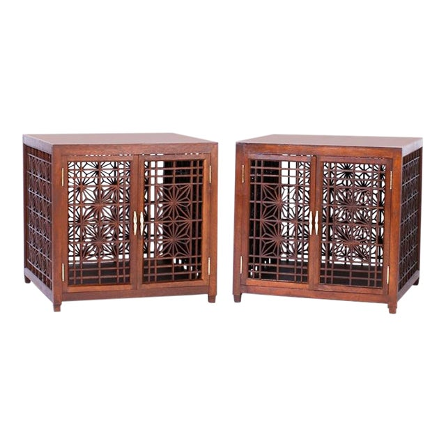 Midcentury Asian Inspired End Tables A Pair Chairish