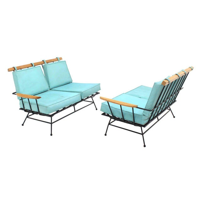 McCobb style Mid-Century Modern sectional sofa. As is upholstery. Perfect wrought iron frame.