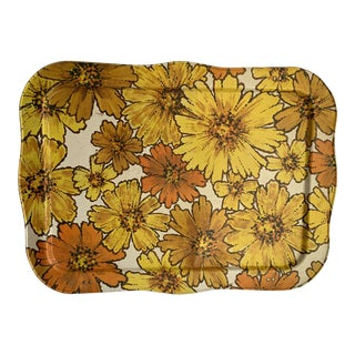 Midcentury Gold Floral Metal Serving Tray For Sale