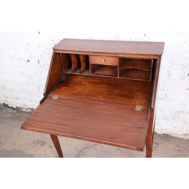 French Louis XV Style Mahogany Drop-Front Secretary Desk With Mother Of Pearl Inlay For Sale - Image 9 of 13