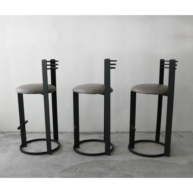 Philippe Starck Set of 3 Post Modern Italian Memphis Milano Minimalist Style Bar Stools For Sale - Image 4 of 8