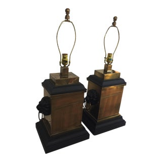 Lion Motif Brass Lamps - A Pair For Sale