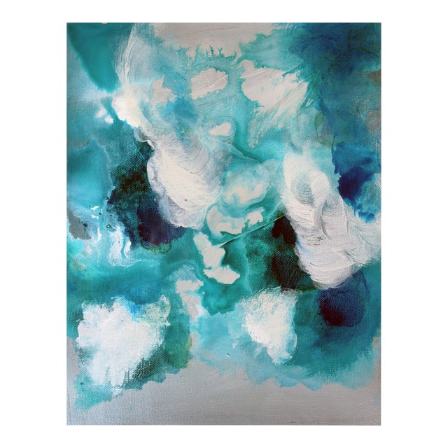 Bella Blue Expressive Modern Abstract Art Painting - Image 1 of 4
