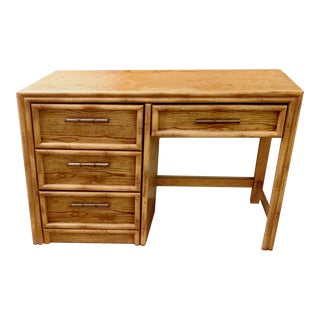 Faux Bamboo Rattan 4 Drawer Writing Desk by Lea - the Bedroom People - Circa 1960s For Sale