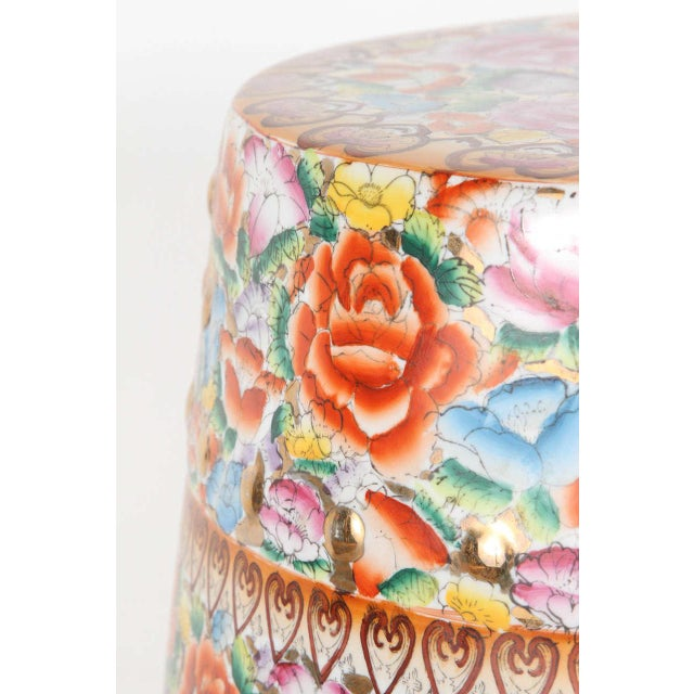 Mid 20th Century Chinese Pink Ceramic Garden Seat With Lucky Coins For Sale - Image 5 of 8