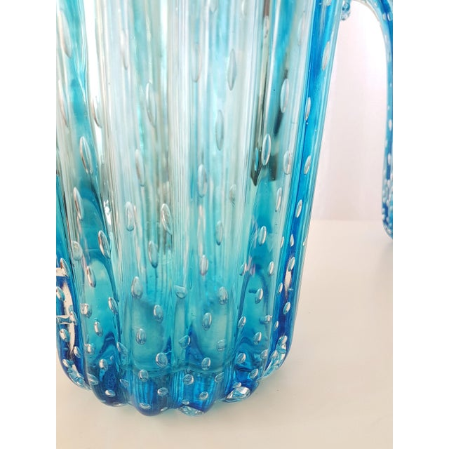Glass Large Blue Murano Glass Mid Century Modern Vases, 1970's, by Barovier E Toso- a Pair For Sale - Image 7 of 9