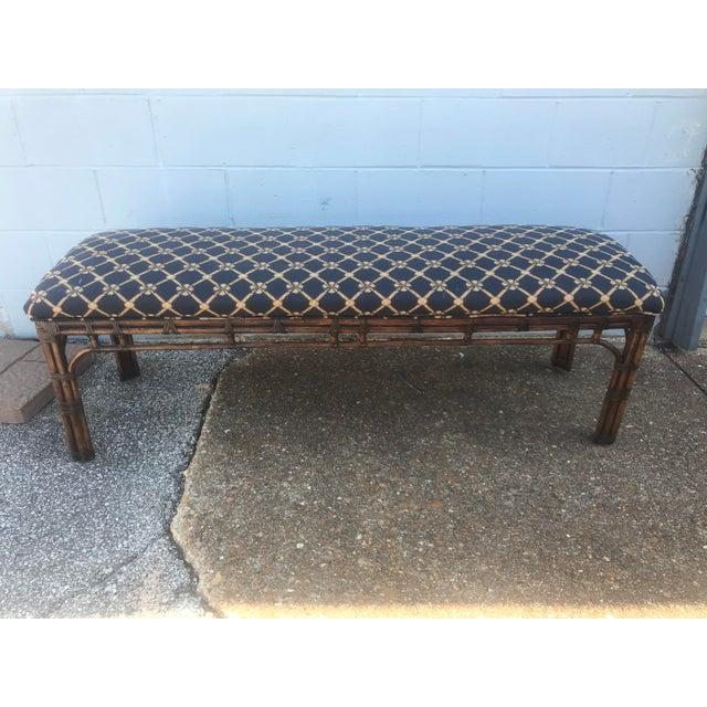 1990s Vintage Henredon Long Upholstered Rattan Bench For Sale - Image 10 of 10