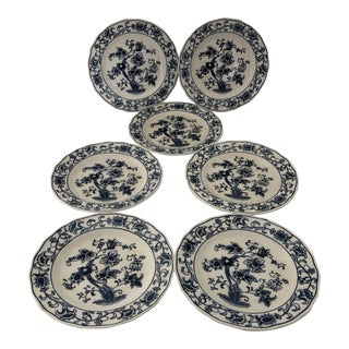 Vintage Blue & White Double Phoenix Ming Tree Bread Plates S /7 For Sale