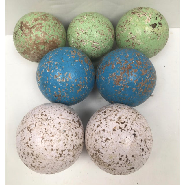 1950s Italian Painted Wooden Bocce Balls - Set of 7 For Sale - Image 4 of 8