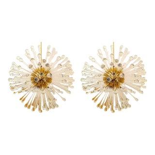 1960s Golden Venetian Glass Dandelion Chandeliers - a Pair For Sale