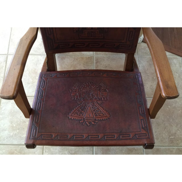 Rare Mid Century Folding Hand Tooled Leather Chair - Image 4 of 5