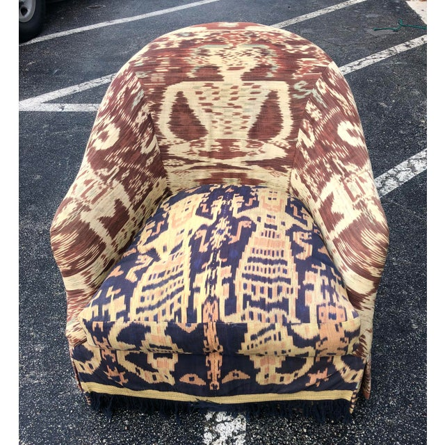 Textile Custom Made Ikat Print Club Chair For Sale - Image 7 of 7