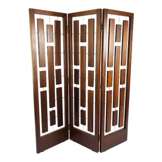 Folding Screen Room Divider in Solid Mahogany For Sale