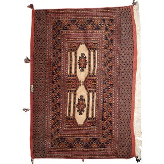 1950s Handmade Semi-Antique Turkoman Rug - 2.8' X 4' For Sale