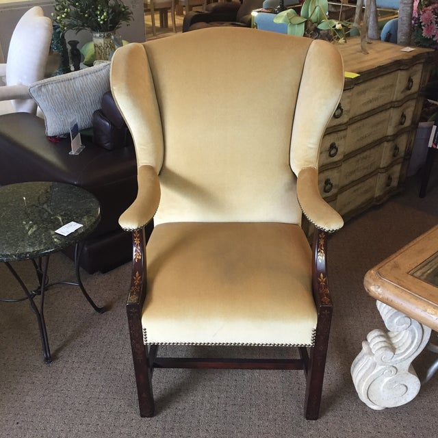 Comfort Home Tan Wingback With Nailhead Chair - Image 2 of 8