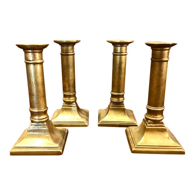 Set of 4 English Brass Neoclassical Candlesticks For Sale