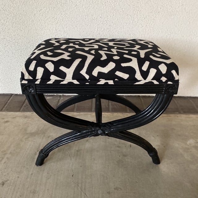 Black Modern Black Bamboo Bench For Sale - Image 8 of 8