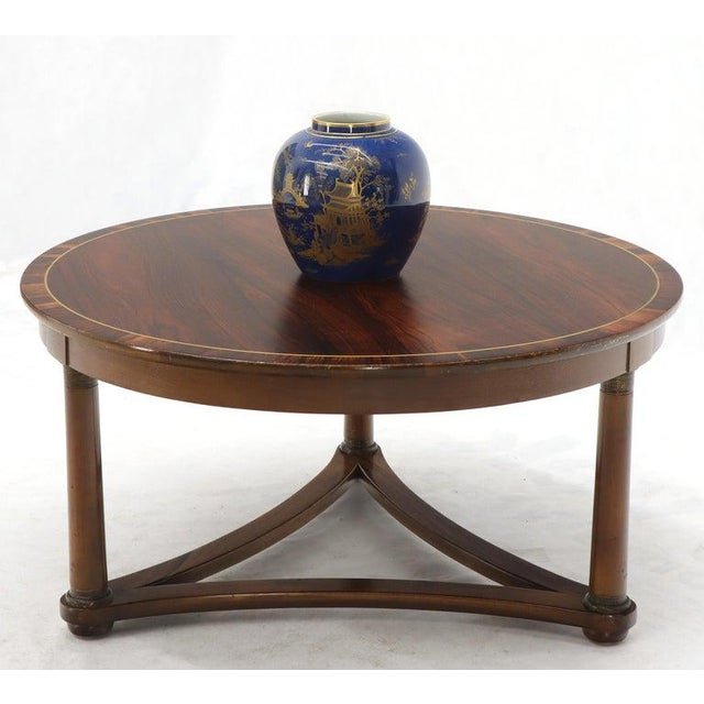 Round Rosewood Neoclassical Rosewood Banded Top Coffee Center Table For Sale - Image 4 of 11