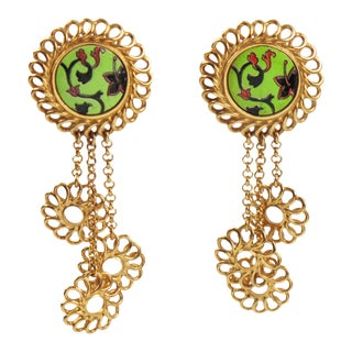 Kenzo Drop Dangle Floral Gilt Metal and Ceramic Clip Earrings For Sale