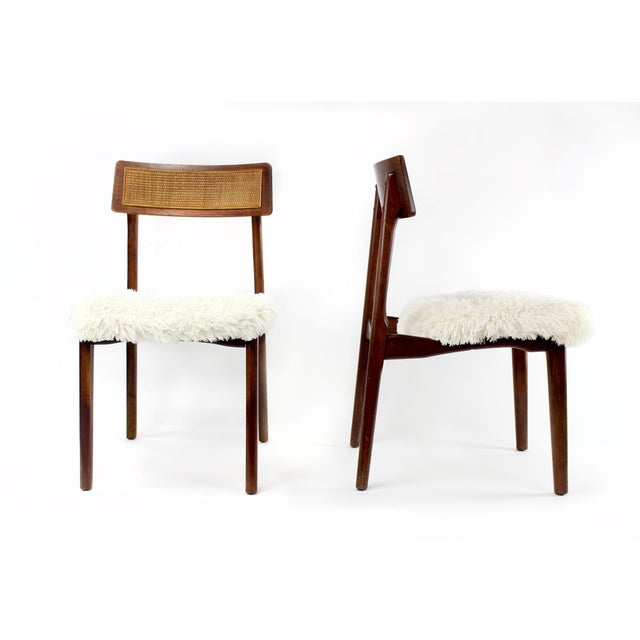 Brown 1950s Mid-Century Modern Shag and Wood Chairs - a Pair For Sale - Image 8 of 8