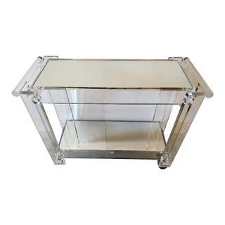 Lucite and Mirror 2 Tier Bar Cart, Vintage For Sale