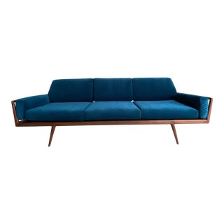 Mid-Century Walnut and Newly Reupholstered Velvet Rail Back Sofa by Mel Smilow For Sale