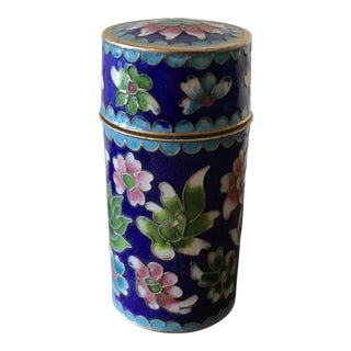 Blue Cloisonné Cylinder Container For Sale