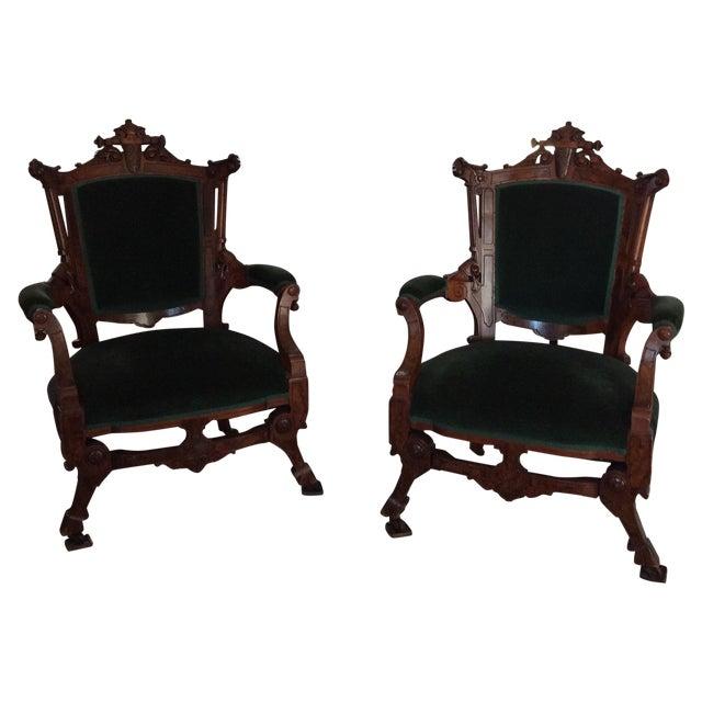 Antique Green Velvet Chairs - Image 1 of 6