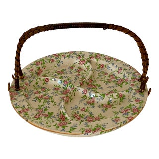 Vintage 1950s Chintz Pattern Divided Dish With Rattan Handle, Made in Japan For Sale