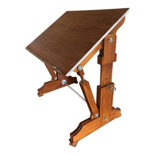 Industrial Wooden Drafting & Art Desk For Sale