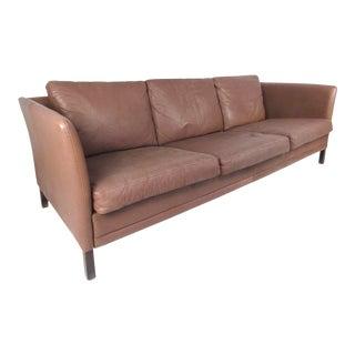 Dunflex Scandinavian Modern Leather Sofa For Sale
