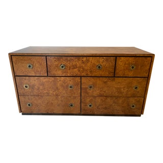 Burled Wood Dresser With Brass Hardware by John Stuart For Sale
