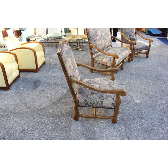 Wood 1900s Louis XIII Style Os De Mouton Walnut Settee and Armchairs - Set of 3 For Sale - Image 7 of 11
