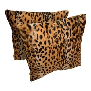 Contemporary Animal Printed Hair Decorative Accent Throw Pillows - a Pair For Sale
