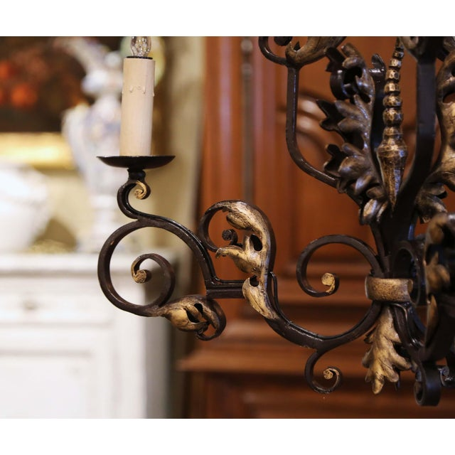 19th Century, French Louis XV Iron Black and Gilt Painted Three-Light Chandelier For Sale In Dallas - Image 6 of 9