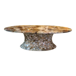 1960s Oval Onyx Coffee Table For Sale