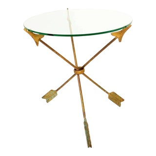 1940s Arturo Pani Bronze Arrows Glass Top Side Tripod Table For Sale