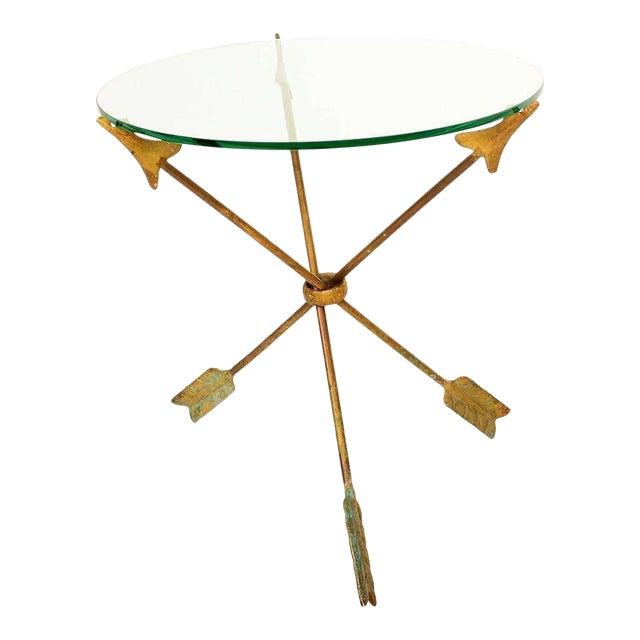 1940s Arturo Pani Bronze Arrows Glass Top Side Tripod Table For Sale