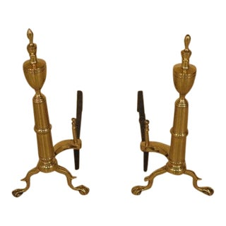 Vintage Rostand Clawfoot Brass Fireplace Andirons - a Pair For Sale