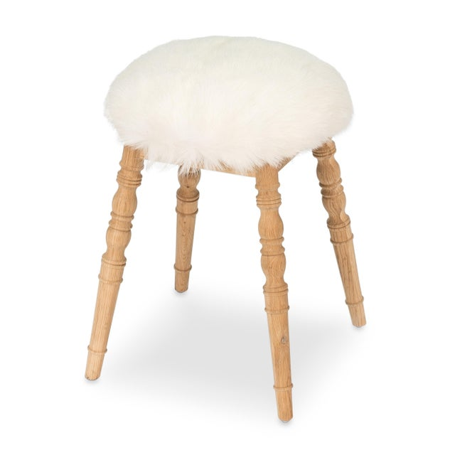 Sarreid LTD White Winoma Stool - Image 2 of 7